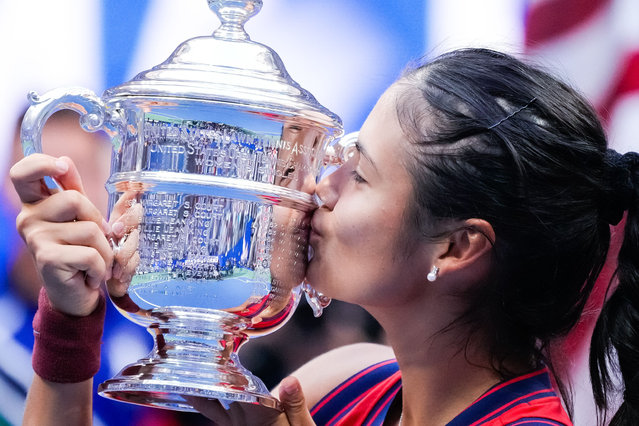 Emma Raducanu of Great Britain kisses the championship trophy after defeating Lelyah Fernandez of Canada to win the women's final match on the thirteenth day of the US Open Tennis Championships at the USTA National Tennis Center in Flushing Meadows, New York, USA, 11 September 2021. The US Open runs from 30 August through 12 September. (Photo by Corey Sipkin/UPI/Rex Features/Shutterstock)