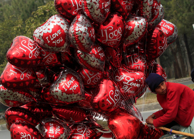 A boy sells heart-shaped balloons on Valentine's Day in Islamabad, Pakistan, February 14, 2017. (Photo by Faisal Mahmood/Reuters)