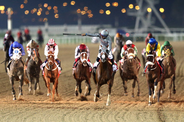 Victor Espinoza rides California Chrome to victory in the Dubai World Cup Sponsored By Emirates Airline as part of the Dubai World Cup at Meydan Racecourse on March 26, 2016 in Dubai, United Arab Emirates. (Photo by Warren Little/Getty Images)