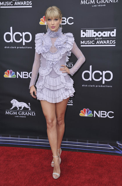 Taylor Swift arrives at the Billboard Music Awards on Wednesday, May 1, 2019, at the MGM Grand Garden Arena in Las Vegas. (Photo by Richard Shotwell/Invision/AP Photo)