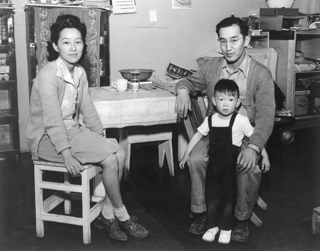 Mr. and Mrs. Henry J. Tsurutani and baby Bruce at the Manzanar War Relocation Center in California, in this 1943 handout photo. (Photo by Courtesy Ansel Adams/Library of Congress, Prints and Photographs Division/Reuters)