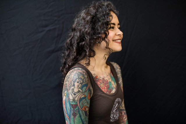 Deni Balbino, 30, poses for a photograph at the 2017 Tattoo Collective event at the Old Truman Brewery in London, England on February 17, 2017. (Photo by South West News Service)