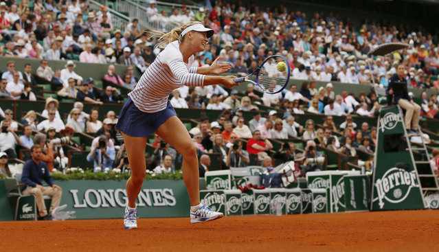 Tennis, French Open – Roland Garros, Paris, France – May 25, 2015: Women's Singles – Russia's Maria Sharapova in action during the first round. (Photo by Jason Cairnduff/Action Images via Reuters)