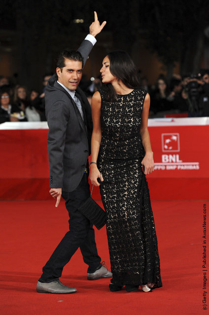 Actor Reza Sixo Safai and actress Sarah Kazemy attend the Circumstance premiere during the 6th International Rome Film Festival