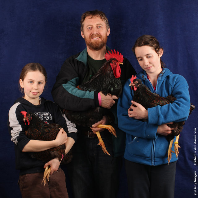 Colin Booth stands with his daughters Sarah (R) aged 13, and Emily (L) aged 11, from Durham, holding their 7 month old Barnevelder chickens