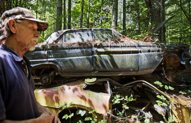 """Maintenance man Rockey Bryson walks past cars stacked at Old Car City, the world's largest known classic car junkyard Thursday, July 16, 2015, in White, Ga. """"It's kind of sad to see them. There's a lot of history here"""", Bryson said. """"No telling how many senators or governors might have drove one of these cars"""". (Photo by David Goldman/AP Photo)"""