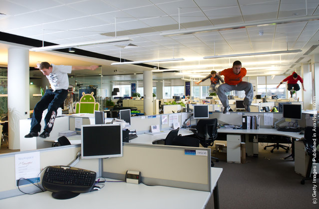 Free runners '3run' take advantage of O2's empty Slough HQ on the company's flexible working day