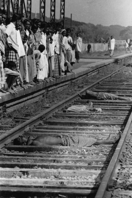 Three traitors lying dead on the railway track, victims of the India-Pakistan conflict, when Indian troops supported  East Pakistan's struggle to become the independent state of Bangladesh, 1971. (Photo by William Lovelace/Express/Getty Images)