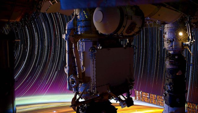 This is a composite of a series of images photographed from a mounted camera on the International Space Station on May 18, 2012