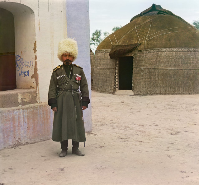 Photos by Sergey Prokudin-Gorsky. 'Dzhigit Ibragim'. Apparently, the picture depicted an employee of 1st Caucasian Potemkin Kuban Cossack regiment, stationed at the time of filming in the area of ​​Merv. Jigits called Cossacks, who had special trained for riding. Russia, Transcaspian Region, Merv uyezd (district), Bairam-Ali area, 1911