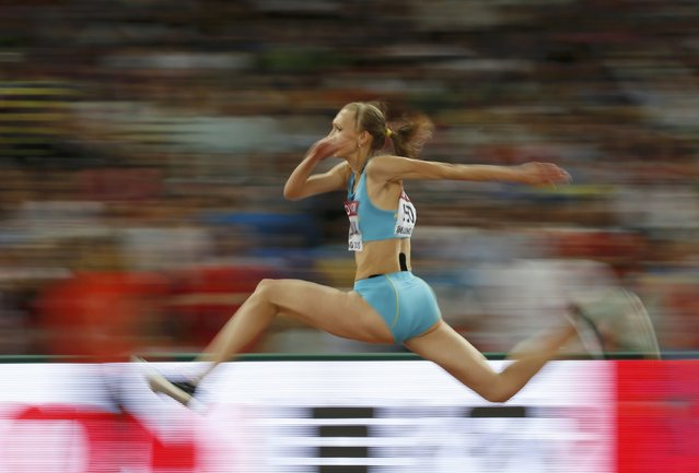 Olga Rypakova of Kazakhstan competes in the women's triple jump final during the 15th IAAF World Championships at the National Stadium in Beijing, China, August 24, 2015. (Photo by Phil Noble/Reuters)