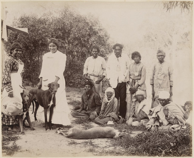 Group of Aboriginals at Dunlop Station homestead, Darling River, New South Wales, 1886