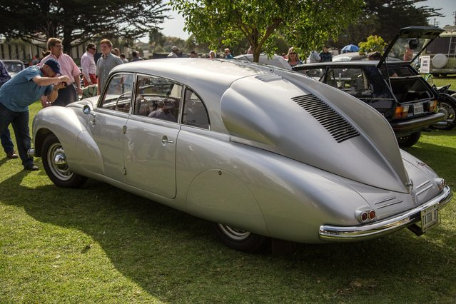 This beautiful Tatra T87 was part of the field at Pebble Beach Concours d'Elegance on Sunday, but was warmly received at Lemons on Saturday. (There are owners who have entered cars in both). (Photo by Robert Kerian/Yahoo Autos)