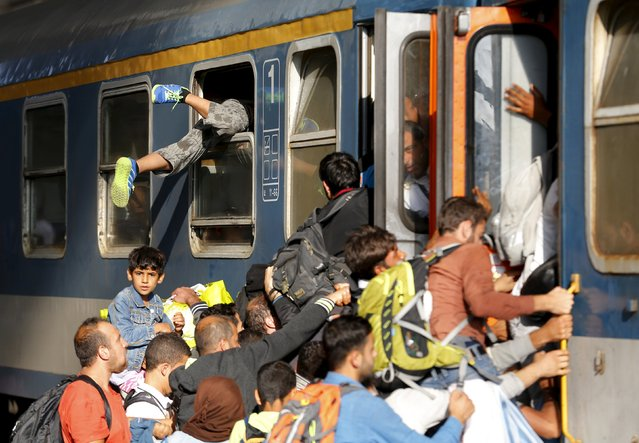 Migrants storm into a train at the Keleti train station in Budapest, Hungary, September 3, 2015 as Hungarian police withdrew from the gates after two days of blocking their entry. (Photo by Laszlo Balogh/Reuters)
