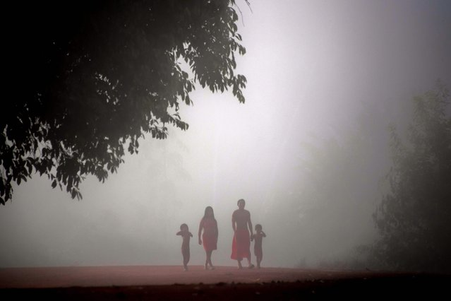 Jawaruwa Waiapi and his family walk amidst fog, early in the morning, at the Manilha village in the Waiapi indigenous reserve in Amapa state in Brazil on October 13, 2017. (Photo by Apu Gomes/AFP Photo)