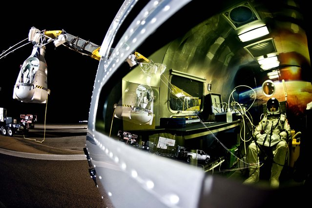 Baumgartner sits in his trailer as he waits to go aloft Sunday. (Photo by Joerg Mitter/Red Bull Stratos)