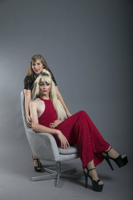Drag queen Gil Donatza (R), who goes by the stage name Angelina Hairy, and his cousin Tamar Zaratzky pose for a photo in a studio in Tel Aviv July 31, 2015. (Photo by Baz Ratner/Reuters)