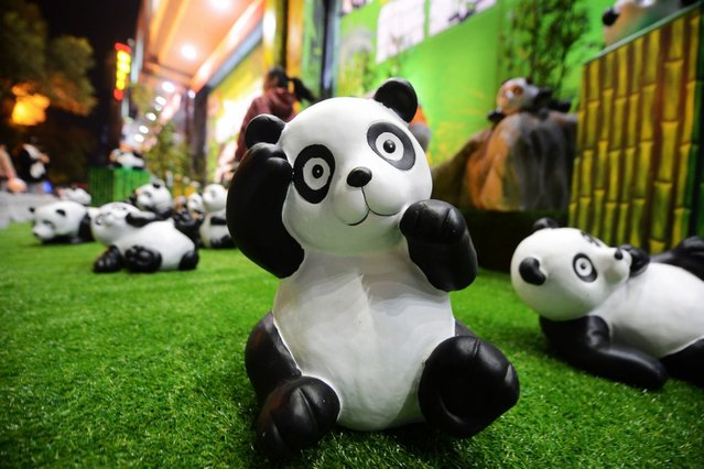 Pandas made up of moso bamboo scraps are exhibited at Yang City, October 15, 2014, in Yangzhou, China. About 100 pandas are exhibited to draw people's attention to forest protection. (Photo by ChinaFotoPress/Getty Images)