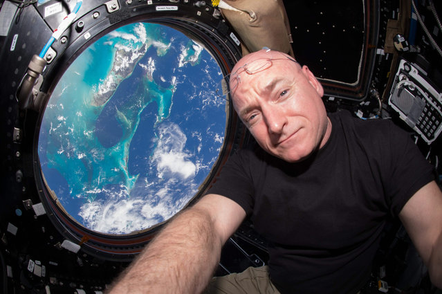 A handout picture made available by NASA on 18 October 2015 shows US astronaut Scott Kelly inside the Cupola, a European Space Agency (ESA)-built observatory module of the International Space Station (ISS) providing a 360-degree view of the Earth and the space station, 12 July 2015. Kelly, commander of the current ISS Expedition 45 crew, on 16 October 2015, marked his 383rd day living in space, surpassing US astronaut Mike Fincke's record of 382 cumulative days. (Photo by EPA/NASA)
