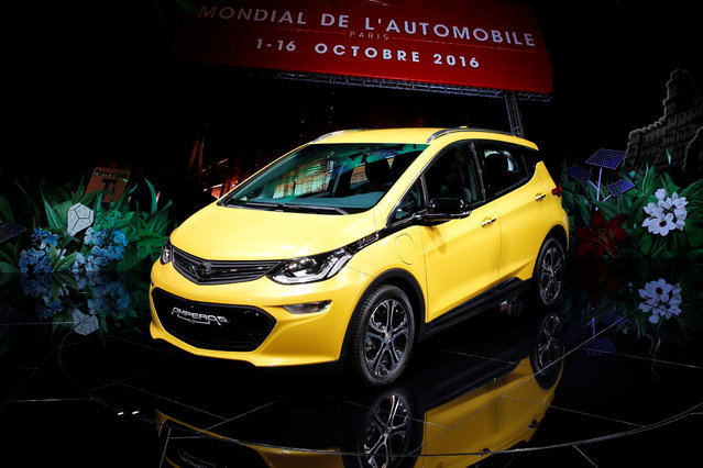 An Opel Ampera-e car is displayed on media day at the Paris auto show, in Paris, France, September 29, 2016. (Photo by Benoit Tessier/Reuters)