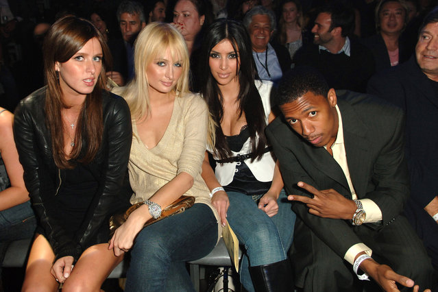 Nicky Hilton, Paris Hilton, Kim Kardashian and Nick Cannon in Hollywood on October 17, 2006. (Photo by M. Caulfield/WireImage for William Rast)