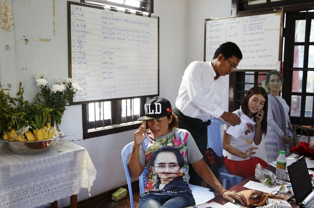 Volunteers compile election results at opposition leader Aung San Suu Kyi's National League for Democracy (NLD) office in Mandalay, Myanmar, November 9, 2015. Myanmar's ruling party conceded defeat in the country's general election on Monday as the opposition led by democracy figurehead Aung San Suu Kyi appeared on course for a landslide victory. (Photo by Olivia Harris/Reuters)