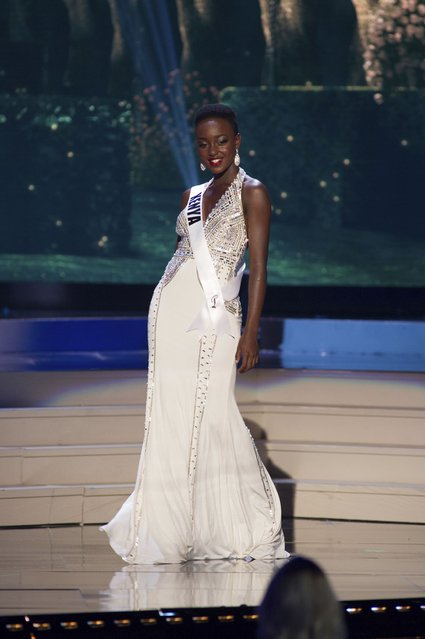 Gaylyne Ayugi, Miss Kenya 2014 competes on stage in her evening gown during the Miss Universe Preliminary Show in Miami, Florida in this January 21, 2015 handout photo. (Photo by Reuters/Miss Universe Organization)
