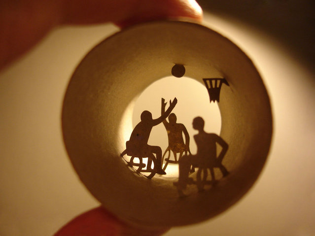 Toilet paper roll art of wheelchair basketball. (Photo by Anastassia Elias/Caters News)
