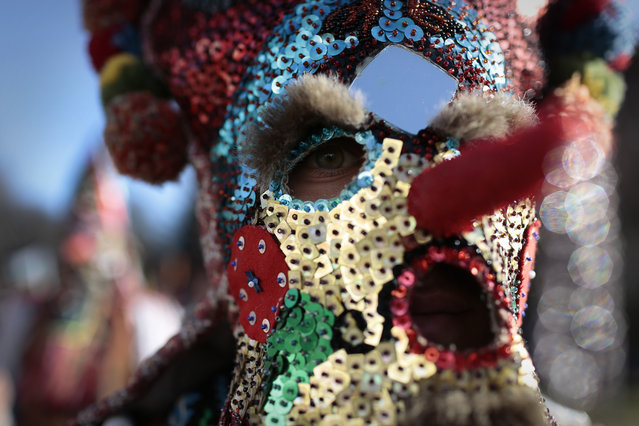 "A Bulgarian dancer looks on behind his mask as they take part in the second competition day of the 24th International Festival of Masquerade Games ""Surva"" in the town of Pernik, Bulgaria Saturday, January 31, 2015. (Photo by Valentina Petrova/AP Photo)"
