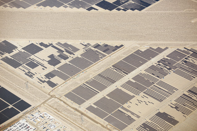 Massive construction of solar panels in the deserts of California and Nevada. (Photo by Jassen Todorov/Caters News)