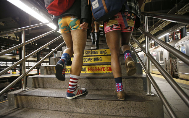Two men clad in colorful underwear walk up the subway steps during the 15th annual No Pants Subway Ride Sunday, January 10, 2016, in New York.  The group event, a prank meant to amuse, has been going on since 2002. (Photo by Kathy Willens/AP Photo)