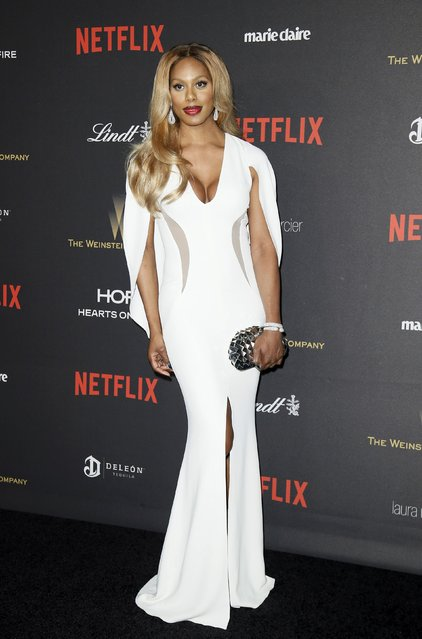 Actress Laverne Cox arrives at The Weinstein Company & Netflix Golden Globe After Party in Beverly Hills, California January 10, 2016. (Photo by Danny Moloshok/Reuters)