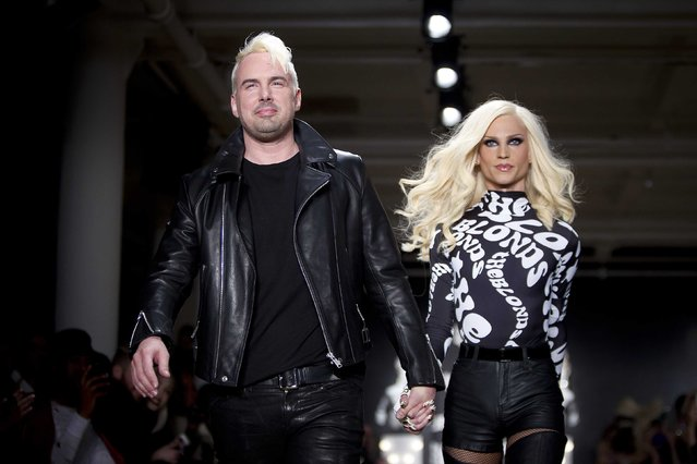 Designers David Blond (L) and Phillipe Blond walk the runway during The Blonds 2015 collection show during New York Fashion Week, February 19, 2015. (Photo by Carlo Allegri/Reuters)