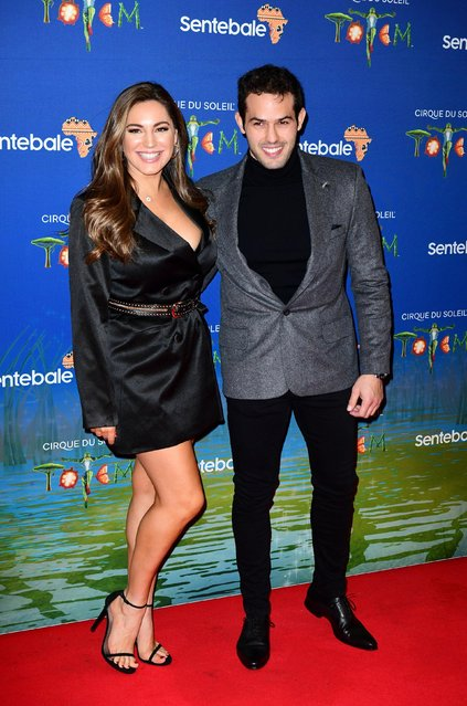 """Kelly Brook (L) and Jeremy Parisi attend the Cirque du Soleil Premiere Of """"TOTEM"""" at Royal Albert Hall on January 16, 2019 in London, England. (Photo by PA Wire Press Association)"""