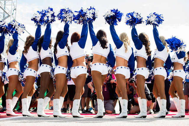 Dallas Cowboys Cheerleaders during the United States Formula One Grand Prix at Circuit of The Americas on October 23, 2016 in Austin, United States. (Photo by Peter J. Fox/Getty Images)