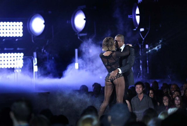 "Beyonce and Jay-Z perform ""Drunk in Love"". (Photo by Matt Sayles/Invision)"