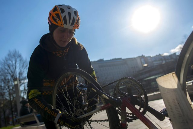 Bicycle courier Aliz Szaloky repairs her bike in Elizabeth Square in central Budapest, Hungary, 26 February 2016. (Photo by Bea Kallos/EPA)