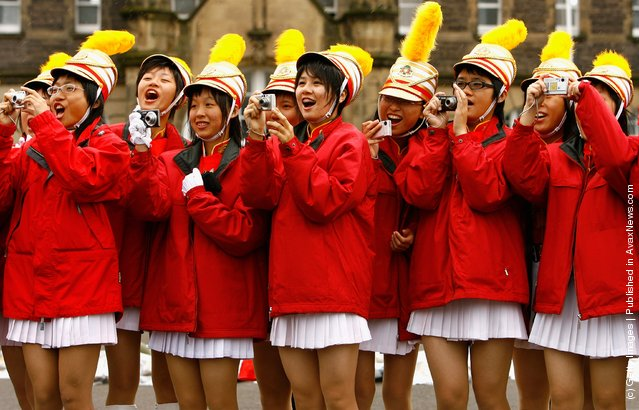 Performers from the Taipei First Girls Senior High School at rehearsal for the Edinburgh Military Tattoo at Redford Barracks