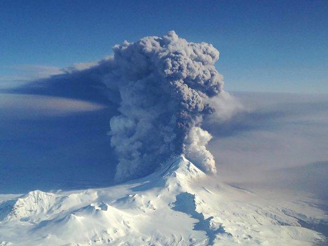 The Pavlof Volcano spews ash in the Aleutian Islands of Alaska in this U.S. Coast Guard photo taken March 28, 2016. Picture taken March 28, 2016. (Photo by Lieutenant Commander Nahshon Almandmoss/Reuters/US Coast Guard)