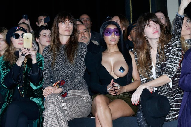 (L-R) Marisa Berenson, Caroline de Maigret, Nicki Minaj and Lou Doillon attend the Haider Ackermann show as part of the Paris Fashion Week Womenswear Fall/Winter 2017/2018 on March 4, 2017 in Paris, France. (Photo by Bertrand Rindoff Petroff/Getty Images)