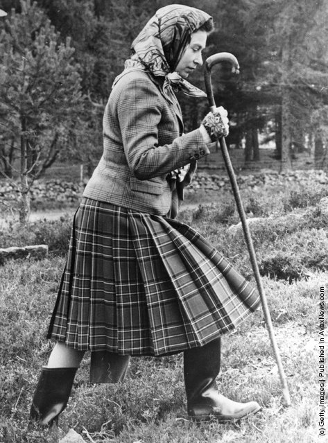 1967: Queen Elizabeth II walking cross country  at the North of Scotland Gun Dog Association Open Stake Retreiver Trials in the grounds of Balmoral Castle