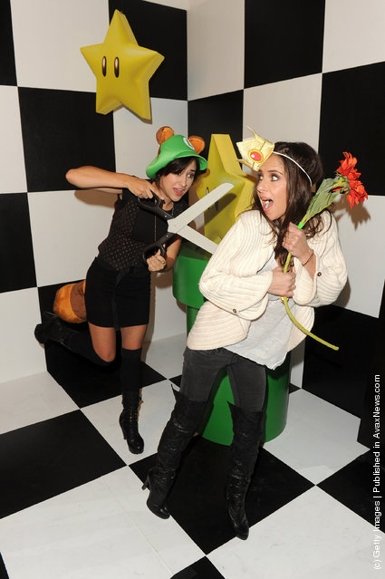 Actresses Zelda Williams and Kelly Monaco attend Nintendo's celebration of the launch of Super Mario 3D