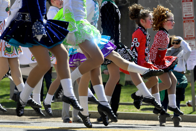 Members of the Laureen O'Neill James School of Dancing perform at the 46th annual St. Patrick's Day parade along Constitution Ave. March 12, 2017 in Washington, DC. (Photo by Katherine Frey/The Washington Post)