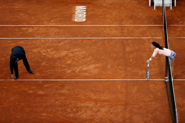 Tennis, Madrid Open, Agnieszka Radwanska of Poland v Dominika Cibulkova of Slovakia, Madrid, Spain on May 1, 2016. Radwanska waits for umpire's call on a ball. (Photo by Susana Vera/Reuters)