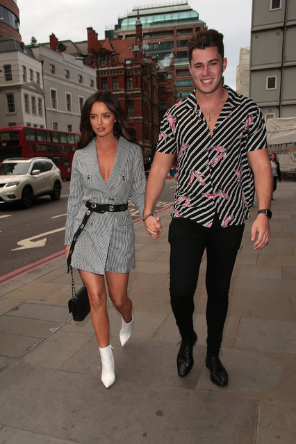 Maura Higgins and Curtis Pritchard attends the boohooMan X Tommy Fury Launch Dinner on September 02, 2019 in London, England. (Photo by Ricky Vigil M/GC Images)