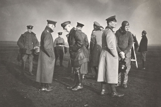 German officers are pictured at Air Training School 5, in Hannover in this 1918 handout picture. This picture is part of a previously unpublished set of World War One (WWI) images from a private collection. The pictures offer an unusual view of varied and contrasting aspects of the conflict, from high tech artillery to mobile pigeon lofts, and from officers partying in their headquarters to the grim reality of life and death in the trenches. The year 2014 marks the centenary of the start of the war. (Photo by Reuters/Archive of Modern Conflict London)