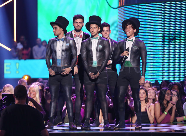 The Janoskians speak at the Teen Choice Awards at the Galen Center on Sunday, August 16, 2015, in Los Angeles. (Photo by Matt Sayles/Invision/AP Photo)