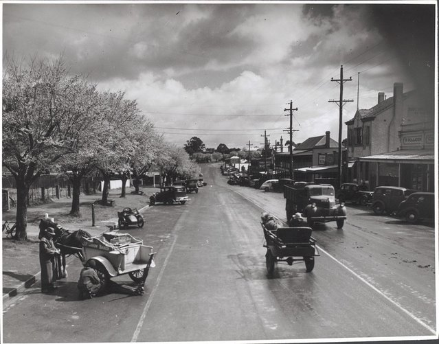 Main Street, Drouin, Victoria, ca. 1944. Really the Prince's highway – one of the two main roads linking Sydney and Melbourne – but for a few hundred yards it is still Main Street in the language of Drouin folk. It is busiest on Tuesday and Thursday afternoons (Market days). In foreground, service stationhand puts his car jack under horse-drawn tradesman's cart