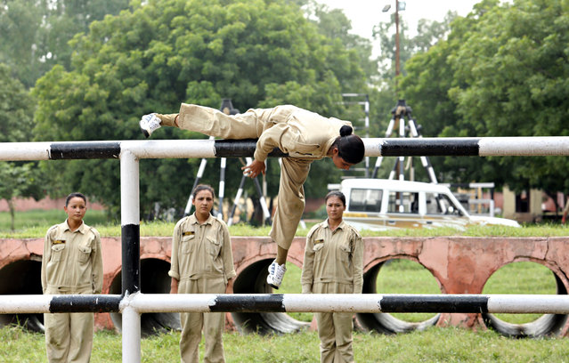 Northeastern girls getting commando training at the Delhi Police Training Centre, Jharoda Kalan on September 4, 2017 in New Delhi, India. (Photo by Manoj Verma/Hindustan Times via Getty Images)