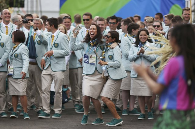 Athletes from Australia laugh during a welcoming ceremony at the Olympic Village in Rio de Janeiro, Brazil on August 3, 2016. (Photo by Edgard Garrido/Reuters)